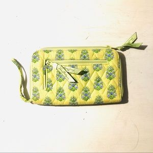 Vera Bradly Lime Green & Blue Zip Around Wallet